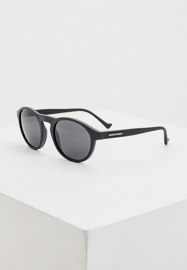 мужские круглые солнцезащитные очки emporio armani, черные