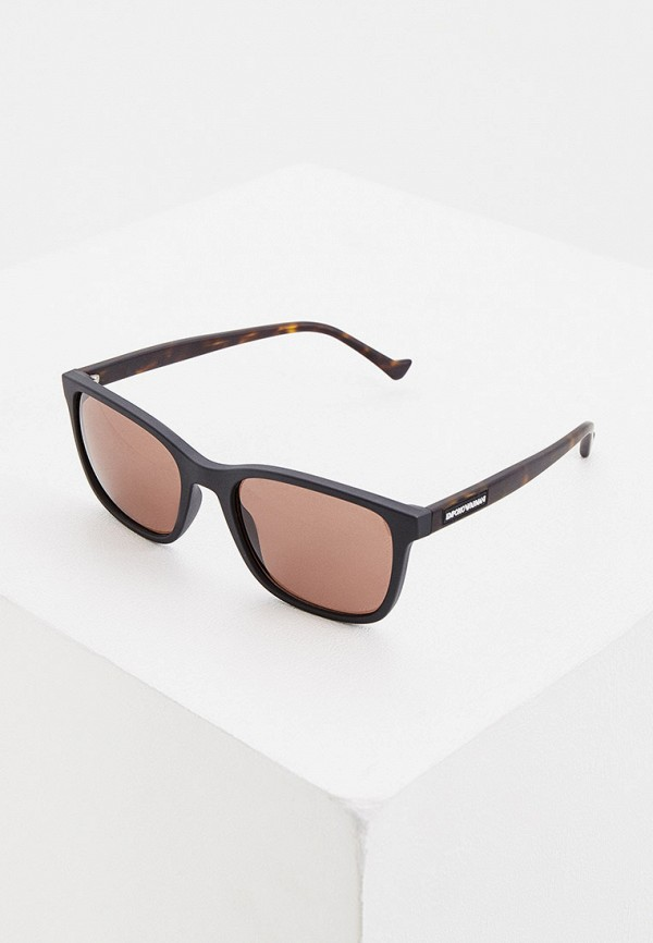 мужские квадратные солнцезащитные очки emporio armani, коричневые