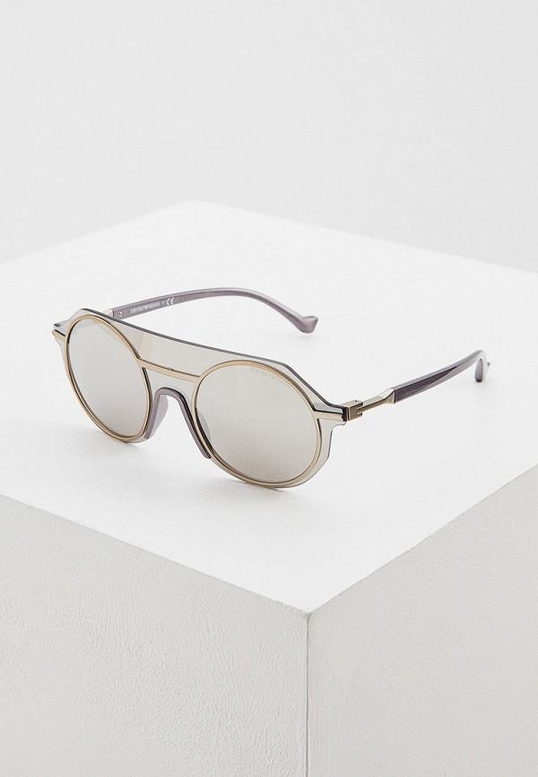 женские круглые солнцезащитные очки emporio armani, золотые