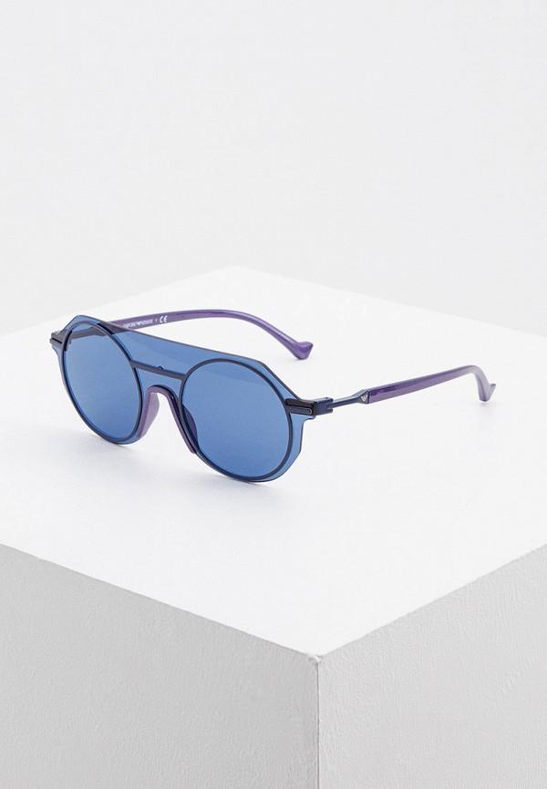 женские круглые солнцезащитные очки emporio armani, синие