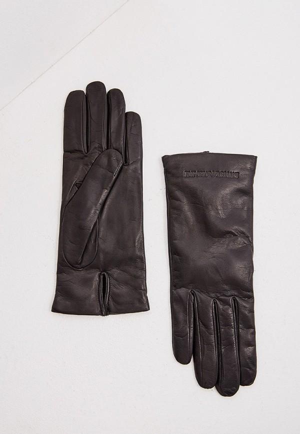 Фото - женские кожаные перчатки Emporio Armani черного цвета