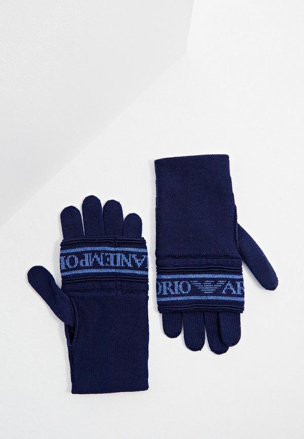 женские текстильные перчатки emporio armani, синие