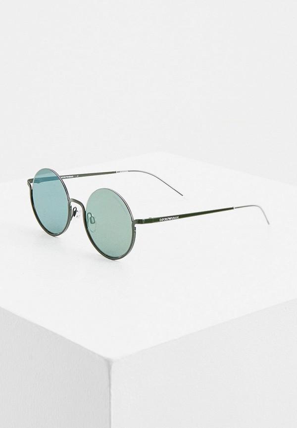 женские круглые солнцезащитные очки emporio armani, зеленые