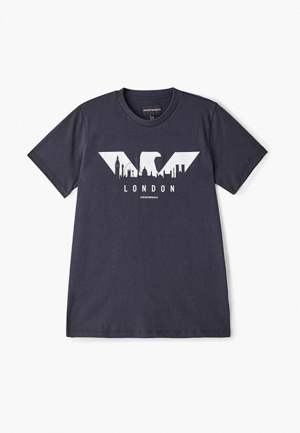 футболка emporio armani для мальчика, синяя