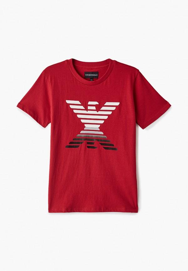 футболка с коротким рукавом emporio armani для мальчика, красная