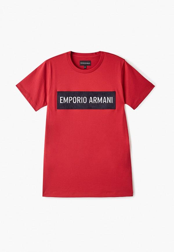 футболка emporio armani для мальчика, красная