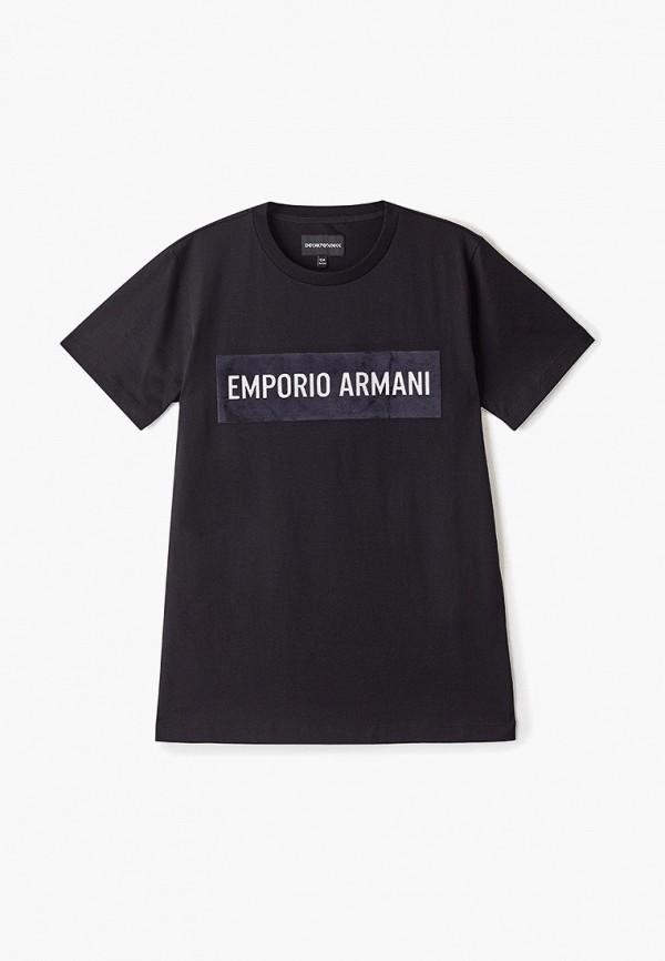 футболка emporio armani для мальчика, черная