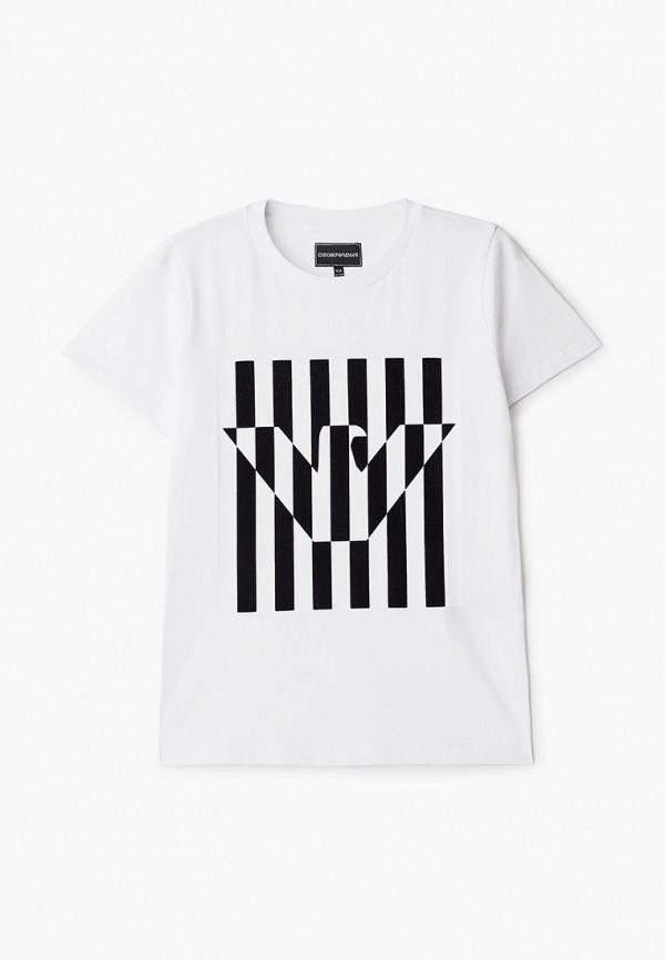 футболка с коротким рукавом emporio armani для мальчика, белая
