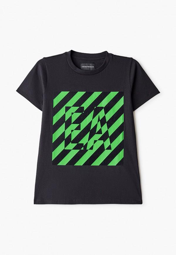 футболка с коротким рукавом emporio armani для мальчика, черная