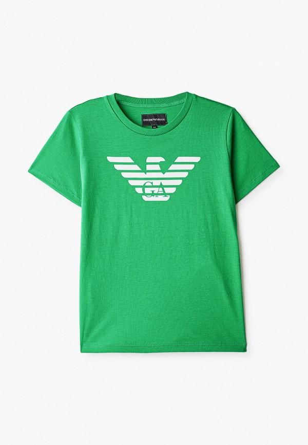футболка с коротким рукавом emporio armani для мальчика, зеленая