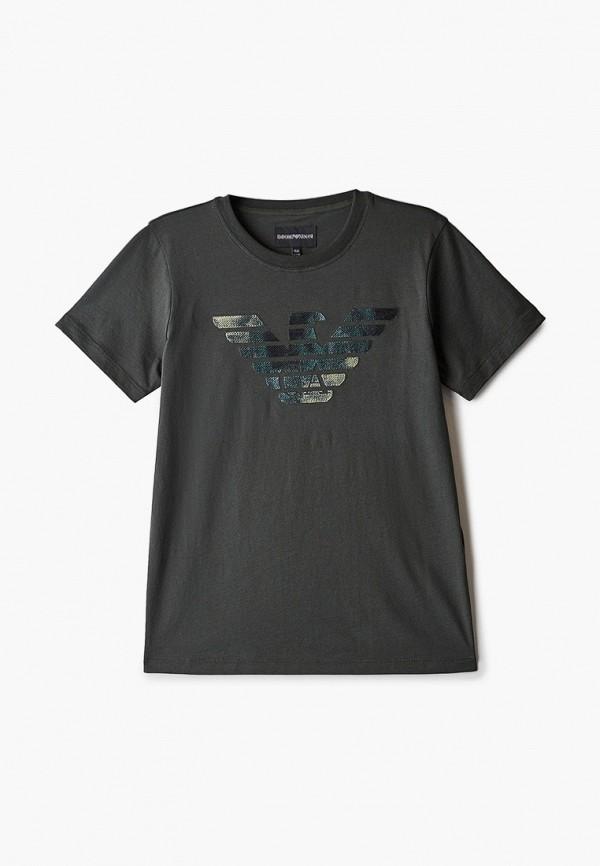 футболка с коротким рукавом emporio armani для мальчика, хаки