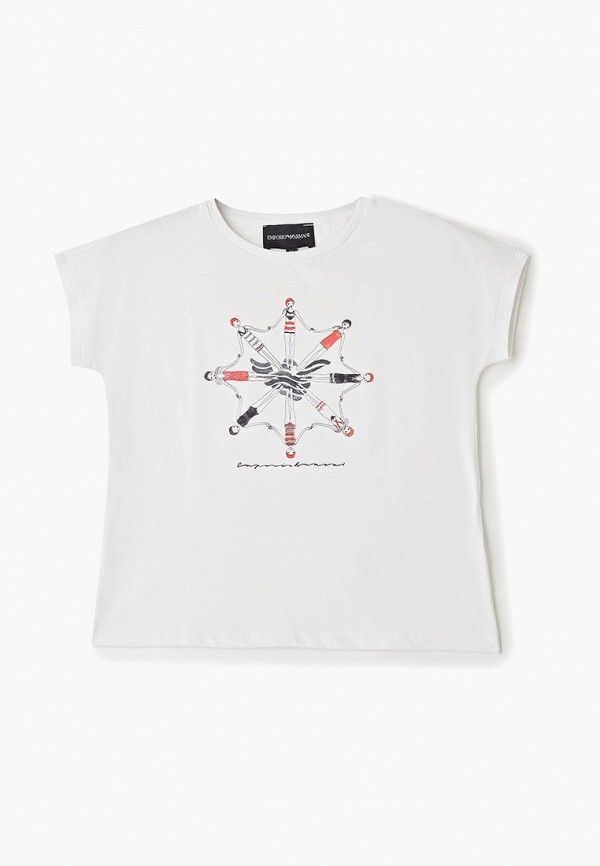футболка emporio armani для девочки, белая