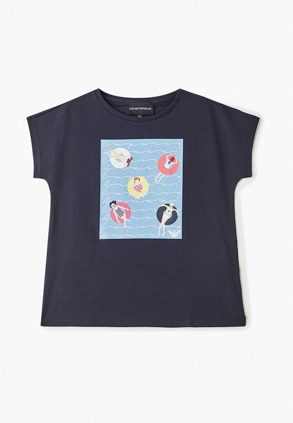 футболка emporio armani для девочки, синяя