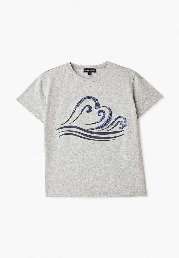 футболка emporio armani для девочки, серая