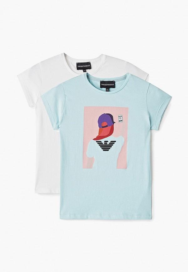футболка с коротким рукавом emporio armani для девочки, разноцветная