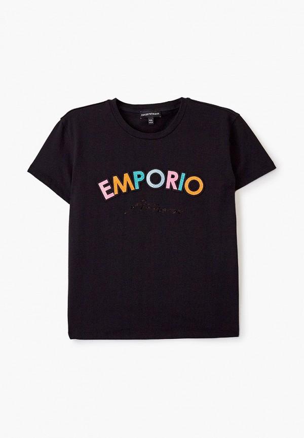футболка с коротким рукавом emporio armani для девочки, черная