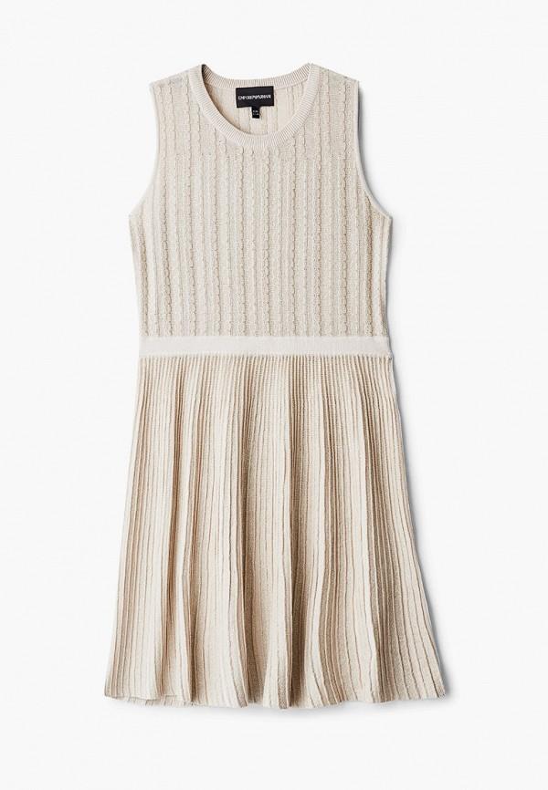 повседневные платье emporio armani для девочки, бежевое