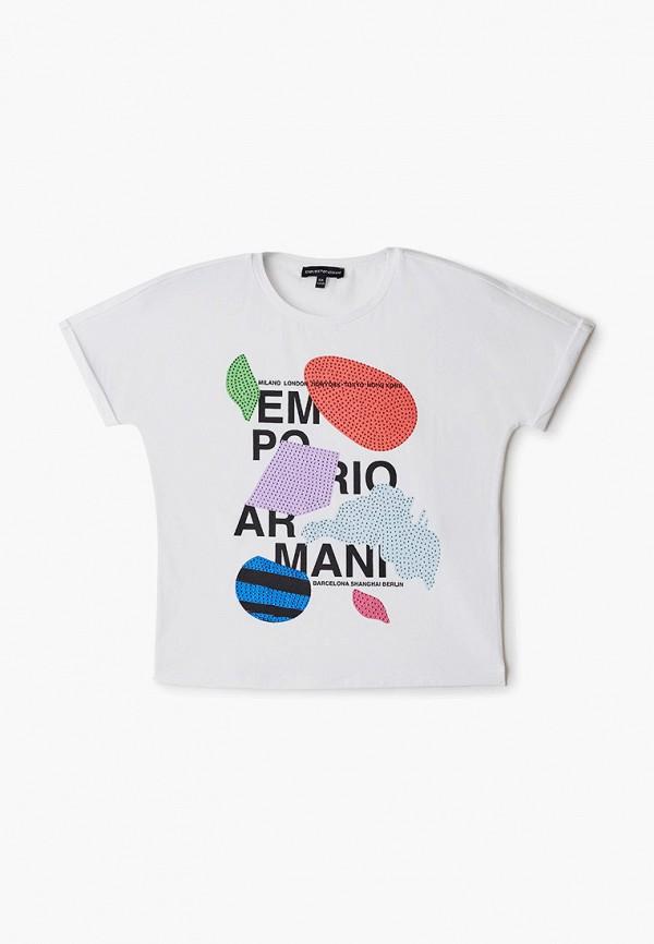 футболка с коротким рукавом emporio armani для девочки, белая