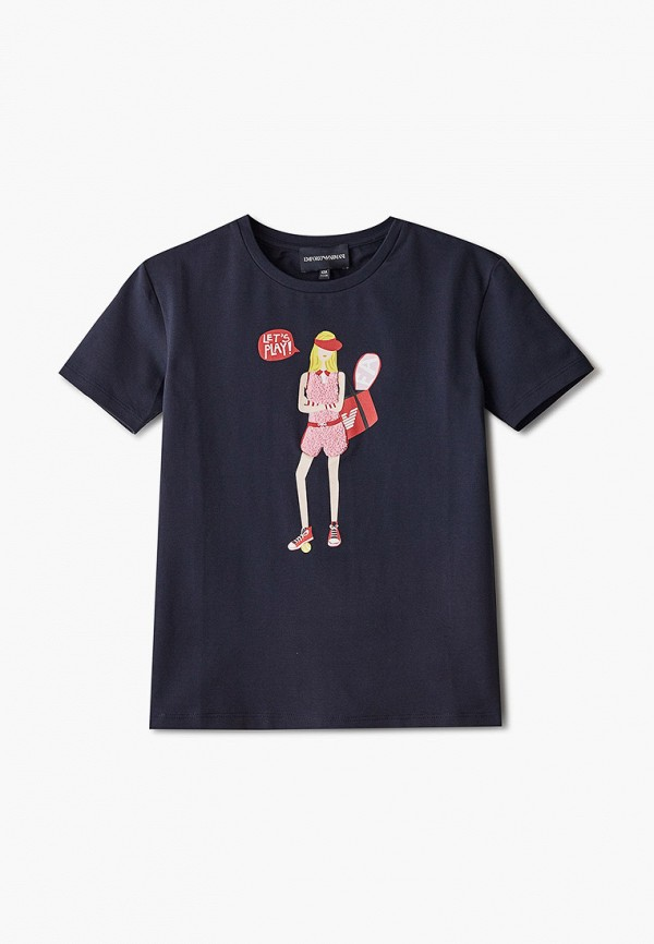 футболка с коротким рукавом emporio armani для девочки, синяя