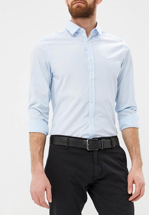мужская рубашка с длинным рукавом emporio armani, голубая