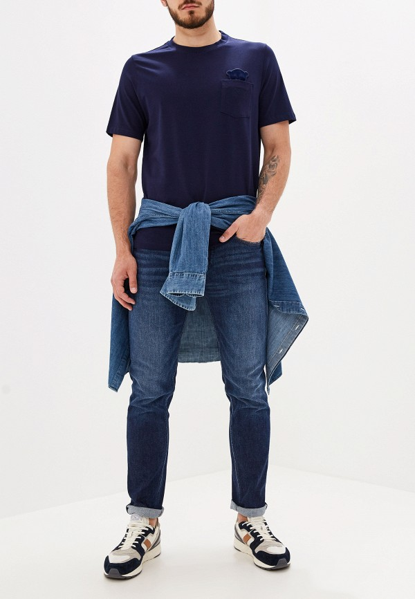 Фото 2 - мужскую футболку Emporio Armani синего цвета