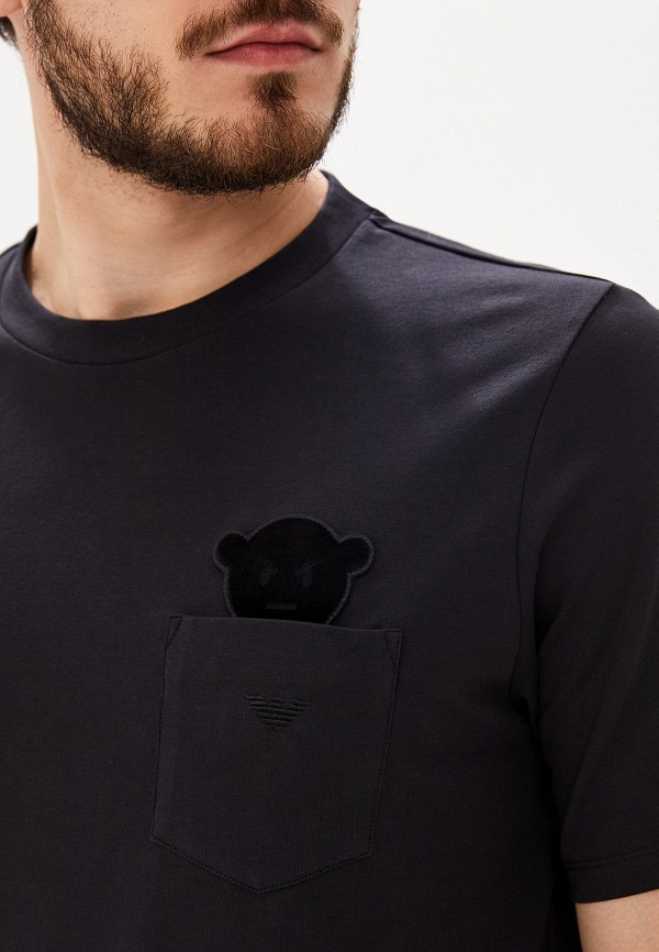 Фото 4 - мужскую футболку Emporio Armani черного цвета
