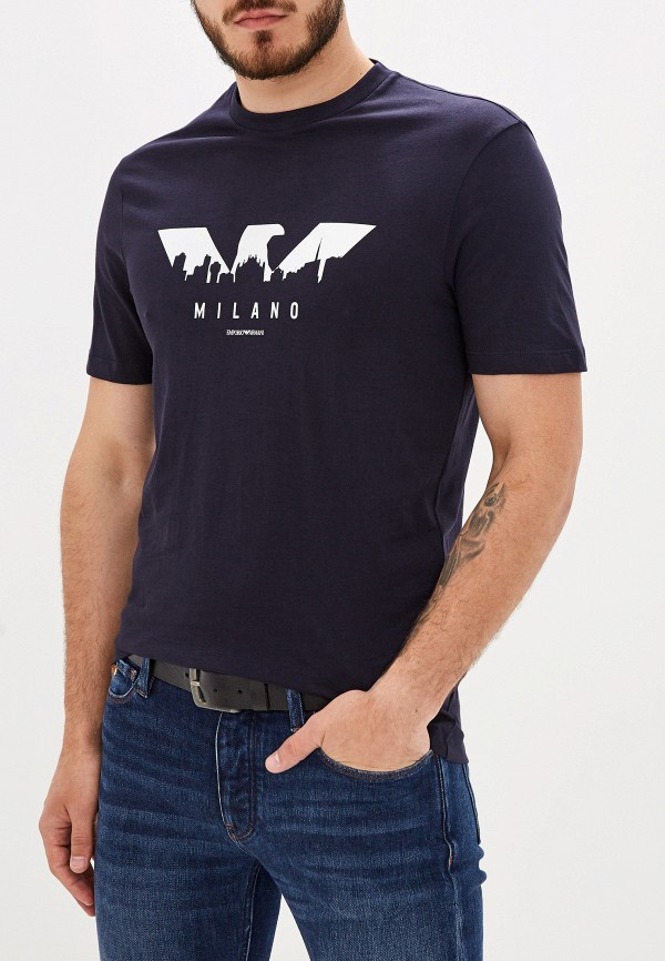 Фото - мужскую футболку Emporio Armani синего цвета
