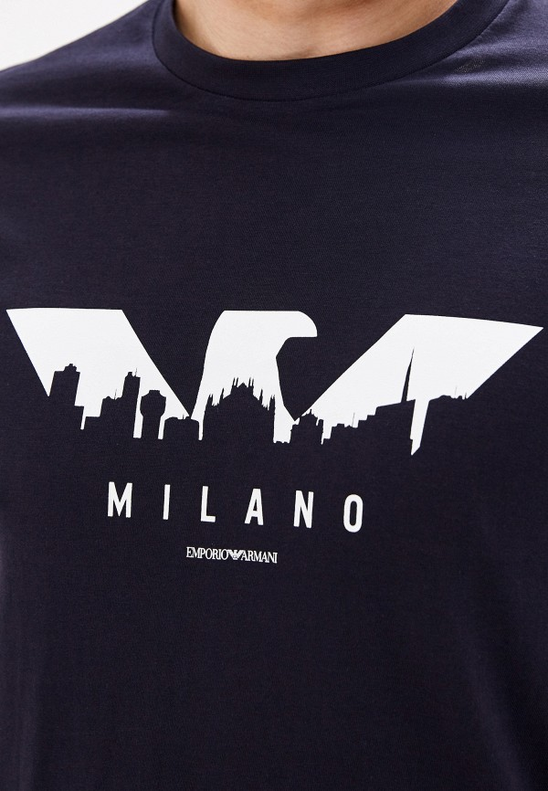 Фото 4 - мужскую футболку Emporio Armani синего цвета