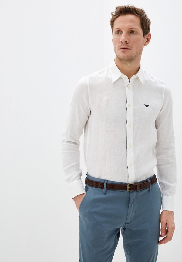 мужская рубашка с длинным рукавом emporio armani, белая