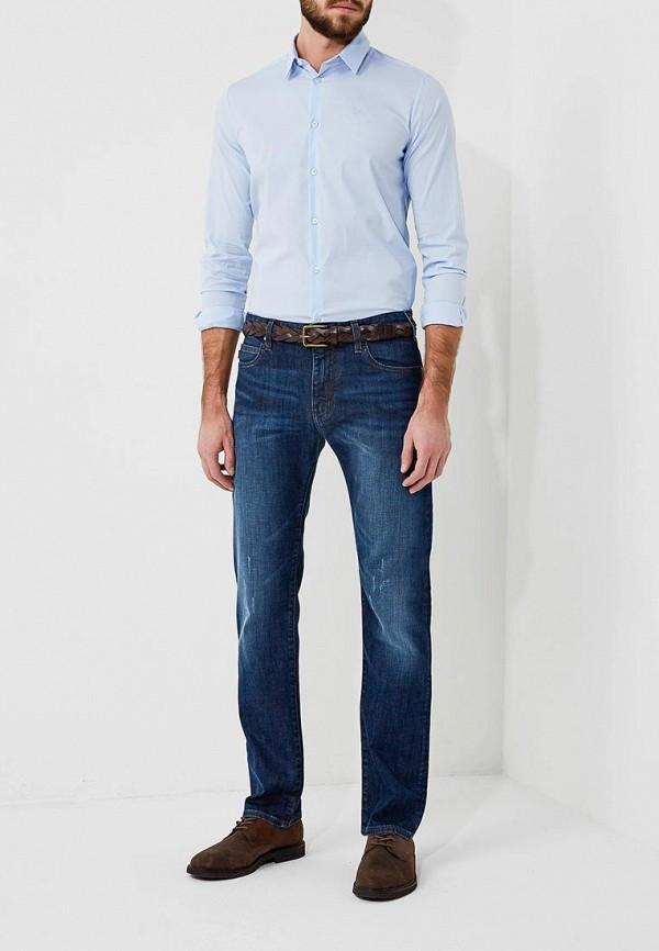 Фото 11 - мужскую рубашку Emporio Armani голубого цвета