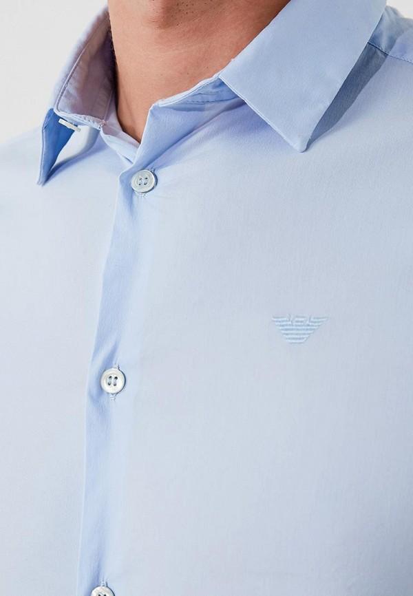 Фото 13 - мужскую рубашку Emporio Armani голубого цвета