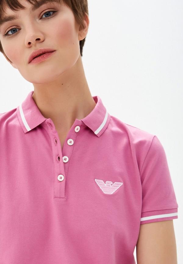 Фото 4 - женское поло Emporio Armani розового цвета