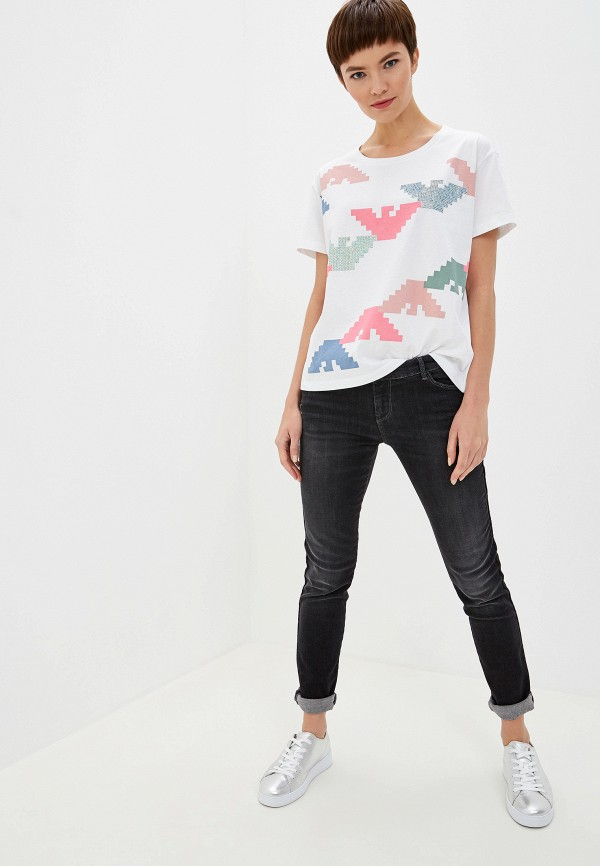 Фото 2 - женскую футболку Emporio Armani белого цвета