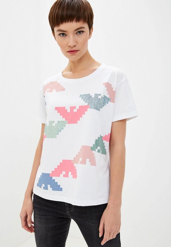 Фото 5 - женскую футболку Emporio Armani белого цвета