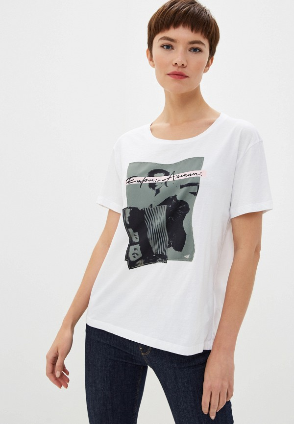 Фото - женскую футболку Emporio Armani белого цвета
