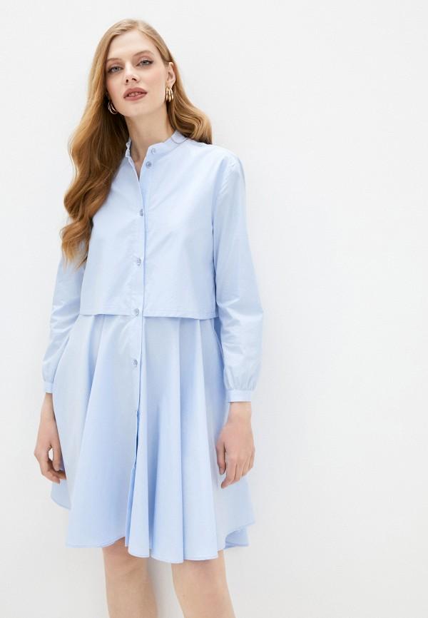 женское повседневные платье emporio armani, голубое