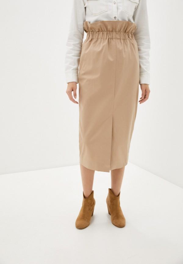 женская прямые юбка emporio armani, бежевая