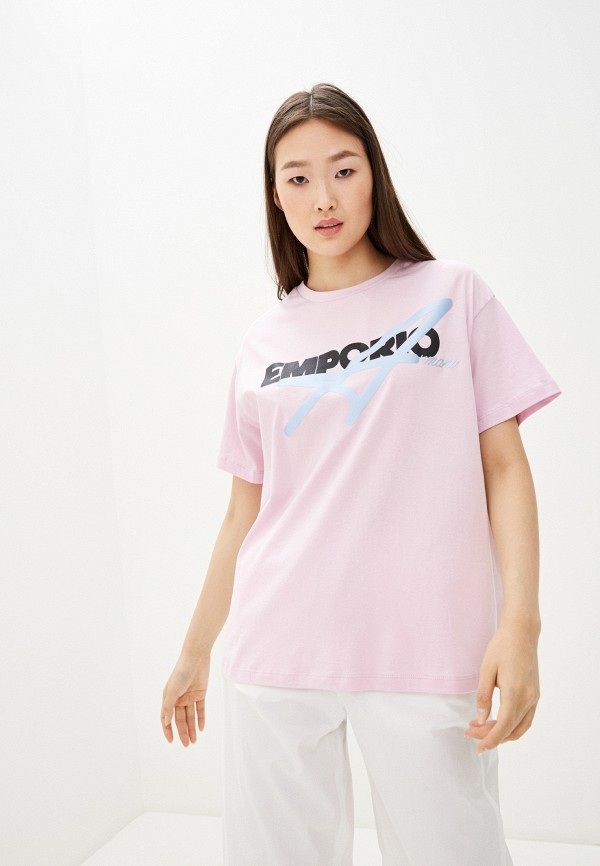 женская футболка emporio armani, розовая