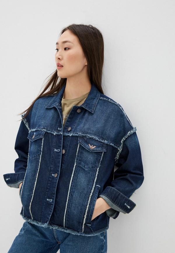 женская джинсовые куртка emporio armani, синяя