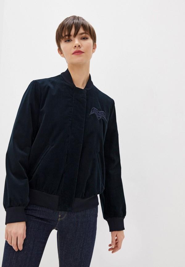 женская куртка бомбер emporio armani, синяя