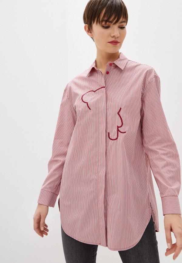 женская рубашка с длинным рукавом emporio armani, красная