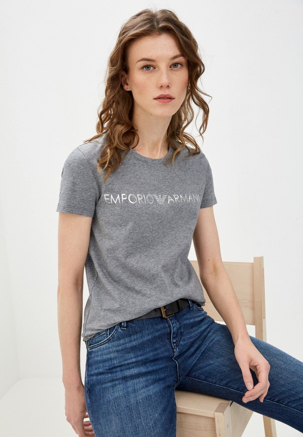 женская футболка emporio armani, серая