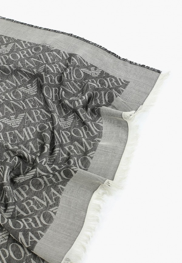 Фото 5 - женский палантин Emporio Armani серого цвета