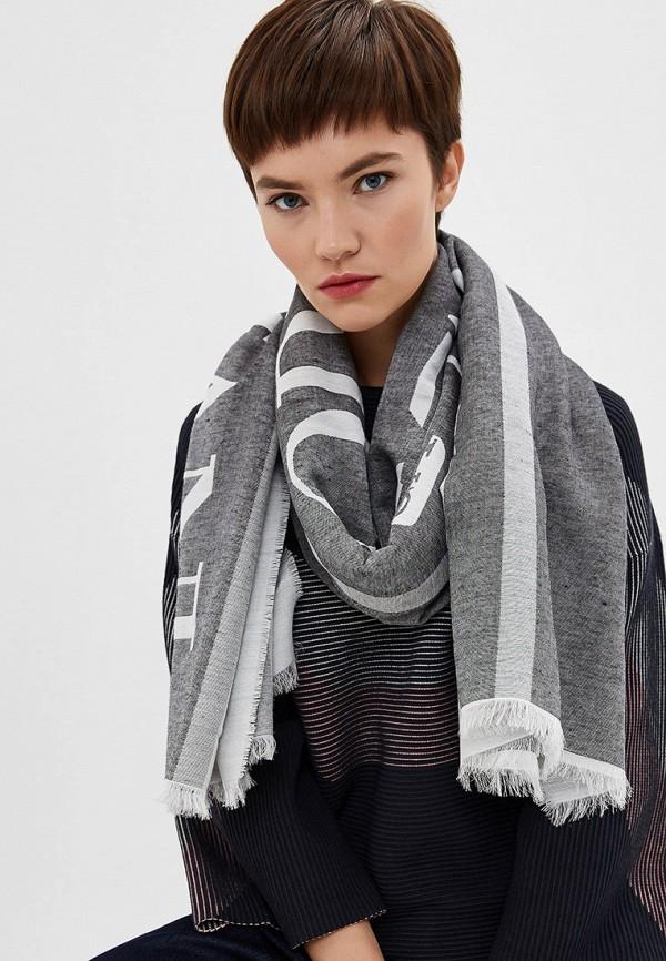Фото 3 - женский палантин Emporio Armani серого цвета