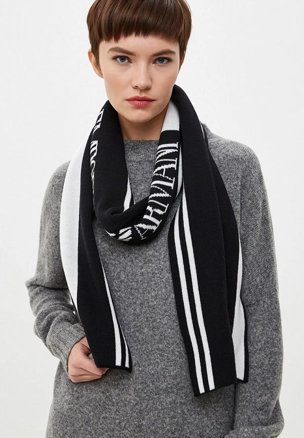 Фото 3 - женский шарф Emporio Armani черного цвета