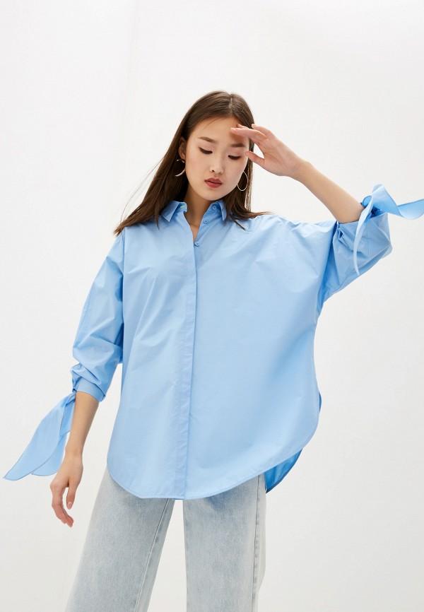 женская блузка escada, голубая