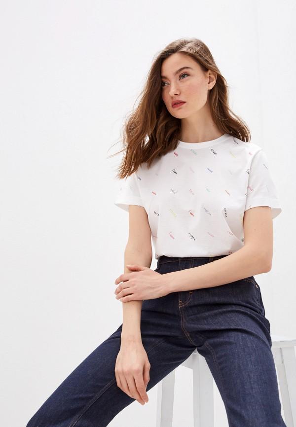 женская футболка escada, белая