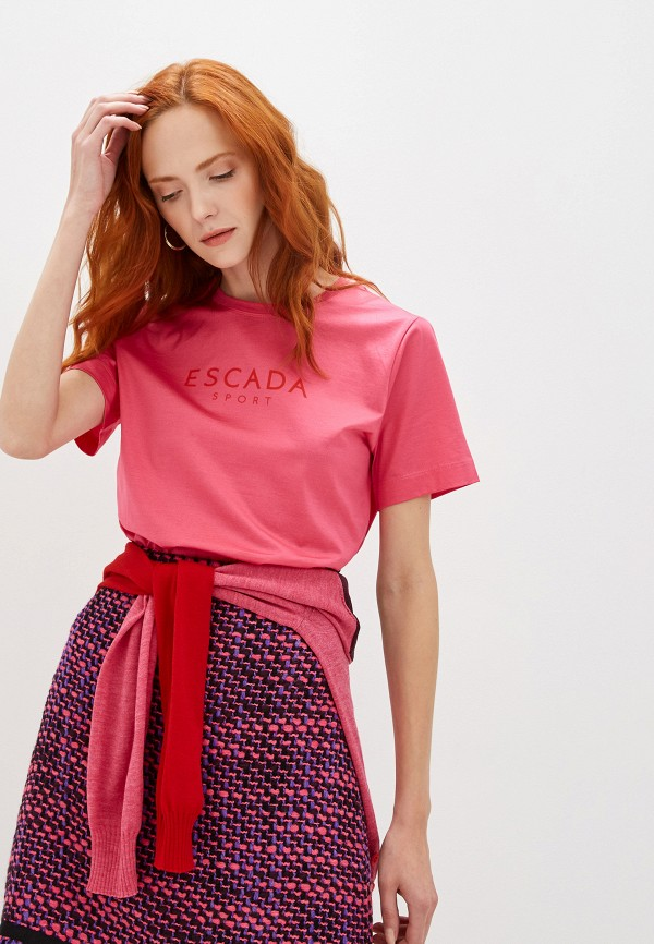 женская футболка escada, розовая