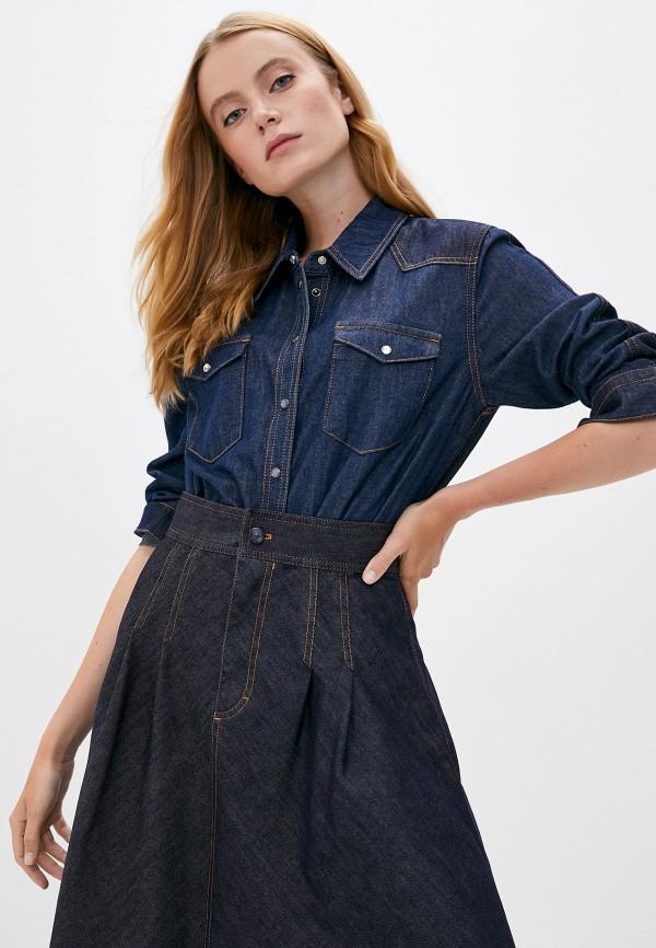 женская джинсовые рубашка escada, синяя