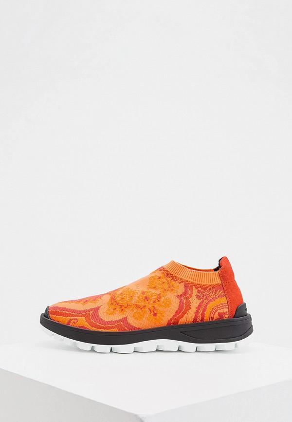 женские кроссовки etro, оранжевые